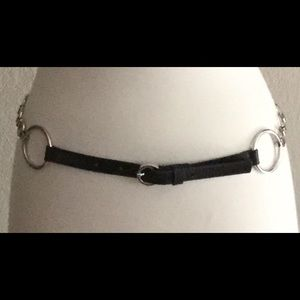Accessories - Genuine Italian leather belt-Silver Circle chain M
